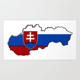 Slovakia Map with Slovakian Flag Art Print