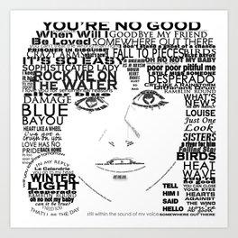 "Linda Ronstadt ""Song Titles"" Word Art Art Print"