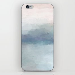 Blush Pink Mint Sky Baby Blue Abstract Ocean Sky Sunrise Wall Art Water Clouds Painting Print iPhone Skin