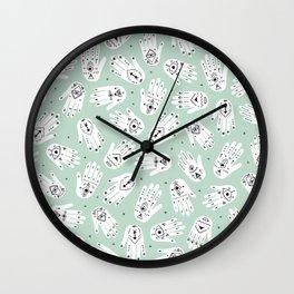 Indian summer bohemian hamsa hand of fatima pattern mint Wall Clock