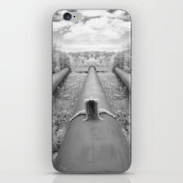 0925-LP Industrial Nature Nude Woman Straddling Massive Hydro Pipe iPhone Skin