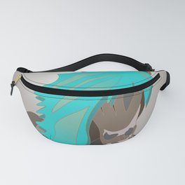 Horse Lover Art in Turquoise and Taupe Fanny Pack