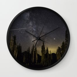 Night Sky over Paradise at Mount Rainier with Shooting Stars Wall Clock