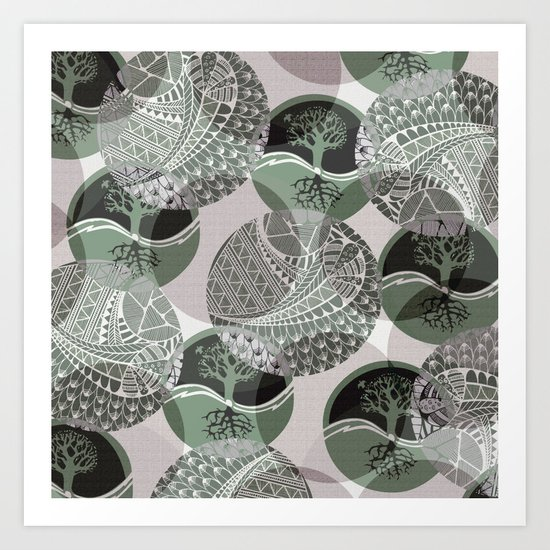 Zentangle and Tree Motifs in Circles Art Print