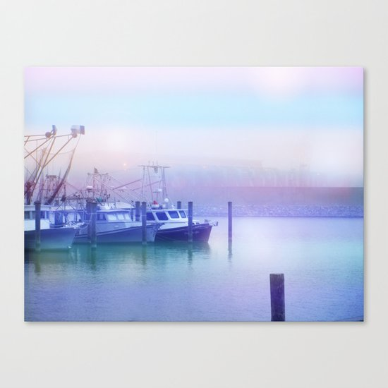 Moored Boats In the Early Morning Fog Canvas Print