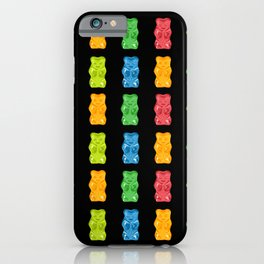 Rainbow Gummy Bears Pattern on Black Background iPhone Case