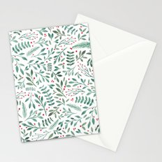 Green Leaves and Red Berries. Stationery Cards