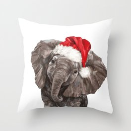 Christmas Baby Elephant Throw Pillow