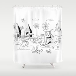 Funny Figurative Line Drawing of Alys Beach Community on 30a Shower Curtain