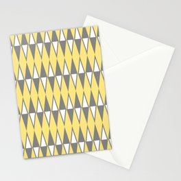 Mid Century Modern Diamond Pattern Yellow and Gray 232 Stationery Cards