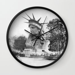 The Statue of Liberty Head On Display - Paris France 1883 Wall Clock