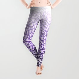 Gradient purple and white swirls doodles Leggings