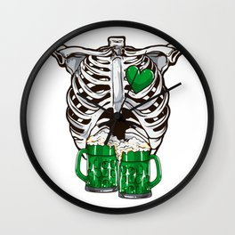 St Patrick's Day Skeleton Love Green Beer Wall Clock