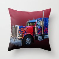 optimus prime Throw Pillows featuring Optimus Prime Red by Steve Purnell