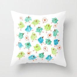 Scribble Birds Throw Pillow