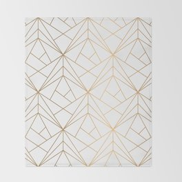 Geometric Gold Pattern With White Shimmer Throw Blanket