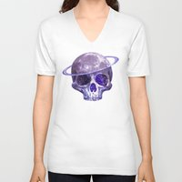 cosmic V-neck T-shirts featuring Cosmic Skull by Terry Fan