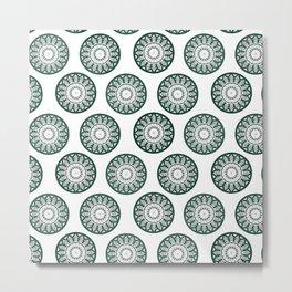 Dark Green Mandala Pattern Metal Print