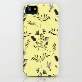 Butter Yellow and Bluebells and Bluebirds Floral Pattern Flowers in Blue and Bark Brown iPhone Case