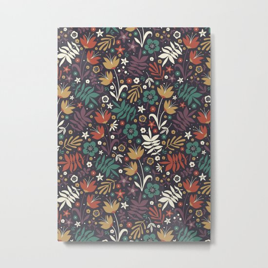 Midnight Florals Metal Print