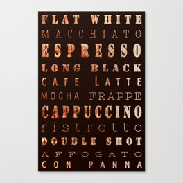 Coffee Types Poster Canvas Print