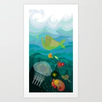 mermaids Art Prints featuring Mermaids by Caroline Krzykowiak