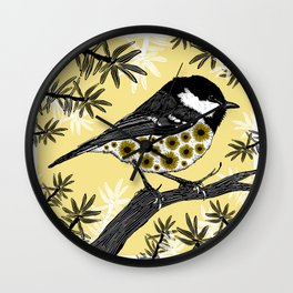 Floral birds - Coal tit and sunflowers Wall Clock