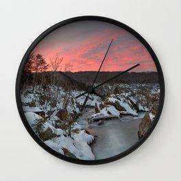 Great Falls Winter Twilight Wall Clock