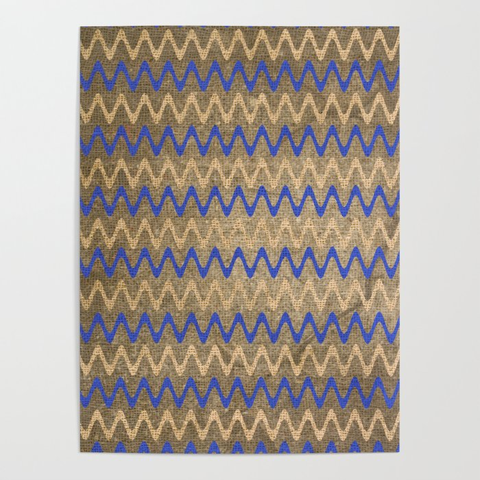 Blue and Tan Zigzag Stripes on Grungy Brown Burlap Graphic Design Poster