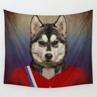russia Wall Tapestries featuring Worldcup 2014 : Russia - Seberian Husky by Life on White Creative