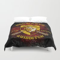 quidditch Duvet Covers featuring Gryffindor lion quidditch team captain iPhone 4 4s 5 5c, ipod, ipad, pillow case, tshirt and mugs by Three Second
