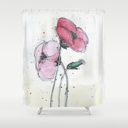Poppies painting watercolor and black ink illustration Shower Curtain