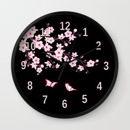 Cherry Blossoms Pink Black Wall Clock