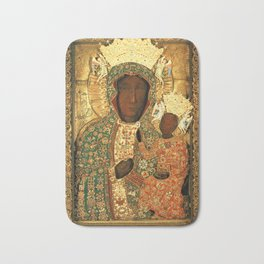 Virgin Mary Our Lady of Czestochowa Black Madonna and Child Jesus religious art Poland Bath Mat