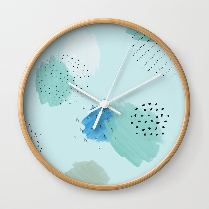 Abtract Paint In Light Blue Wall Clock