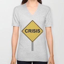Crisis Warning Sign Unisex V-Neck