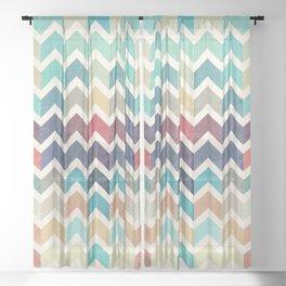 Watercolor Chevron Pattern Sheer Curtain