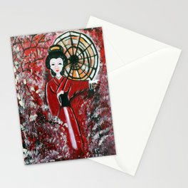 Painted traditional Japanese Geisha Stationery Cards