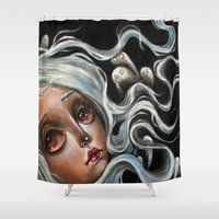 surrealism Shower Curtains featuring White Spirits :: Pop Surrealism Painting by Kristin Frenzel