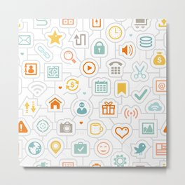 Pattern with Mix of Social Icons Metal Print