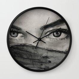 Watercolor portrait brunette girl with dark hair. Портрет углем акварелью брюнетки с темными глазами Wall Clock