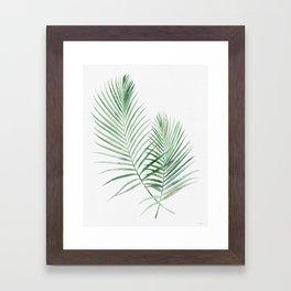 Twin Tropical Palm Fronds - Emerald Green Framed Art Print