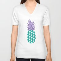 pineapples V-neck T-shirts featuring Pineapples  by Ashley Hillman