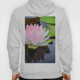 Pink Lotus & Green Lily Pads On A Jet Black Pond Hoody