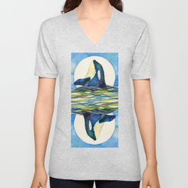 Twin Orca Whale Infinity Unisex V-Neck