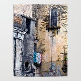 Medieval Sicilian Facade of Forza d'Agro Poster