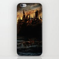 dumbledore iPhone & iPod Skins featuring Harry Potter - Hogwart's Burning by Juniper Vinetree