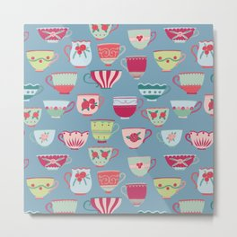 China Teacups on Teal Metal Print