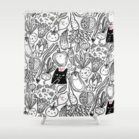 vegetables Shower Curtains featuring Funny Vegetables by Anna Alekseeva kostolom3000