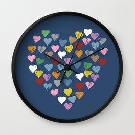Distressed Hearts Heart Navy Wall Clock